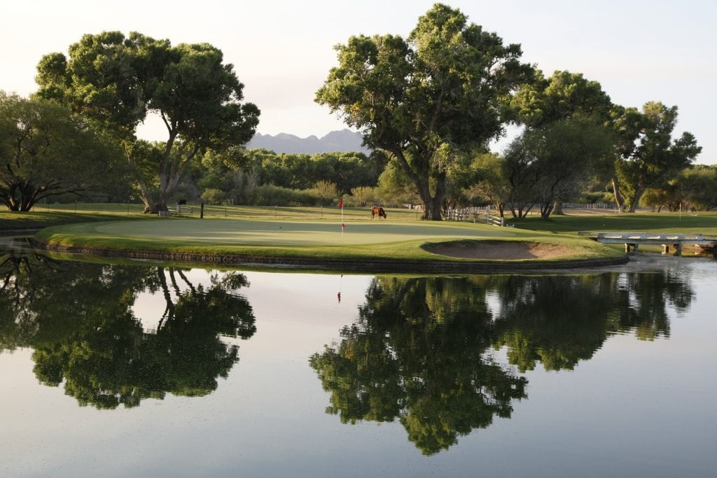 Golf course with pond reflecting tall cottonwood tress at Tubac Golf Resort Spa