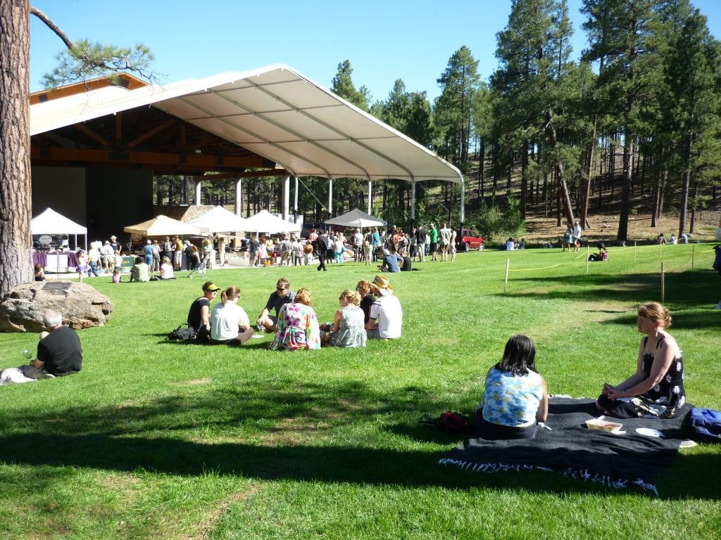 people sit on grass lawns surrounded by Ponderosa pine trees at teh Flagstaff Food and Wine Festival