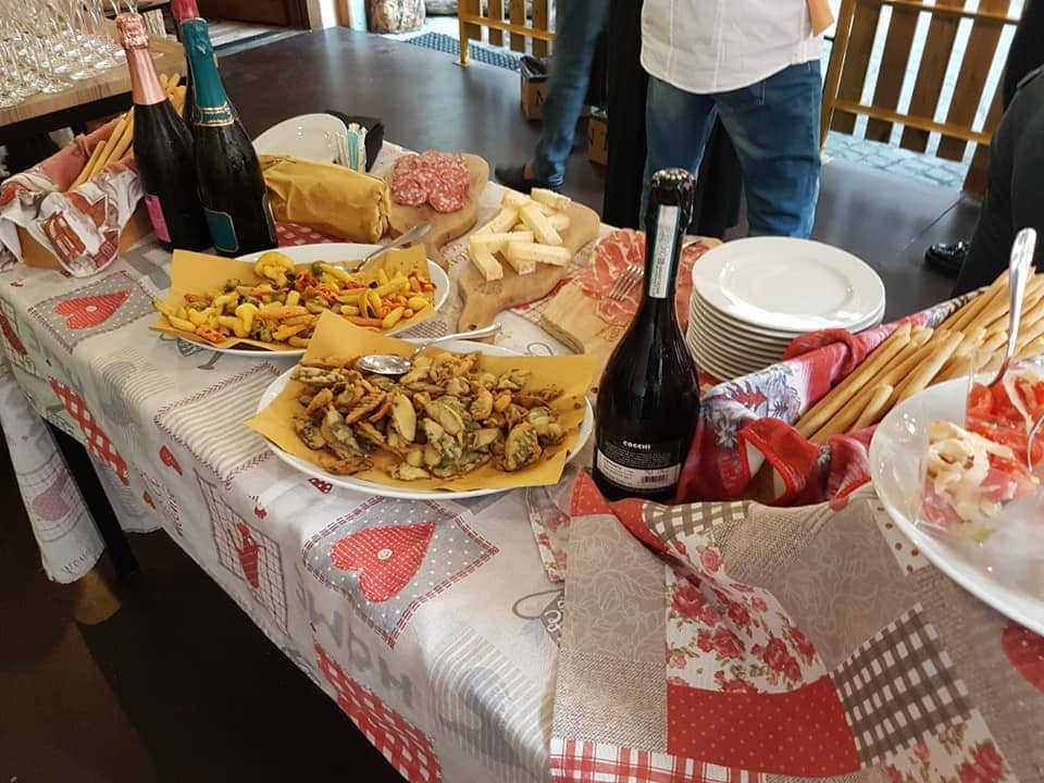 Table spread with variety of local foods