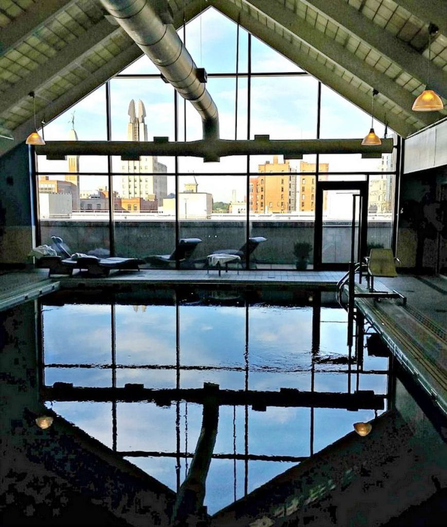 Hyatt Regency Rochester pool and city view