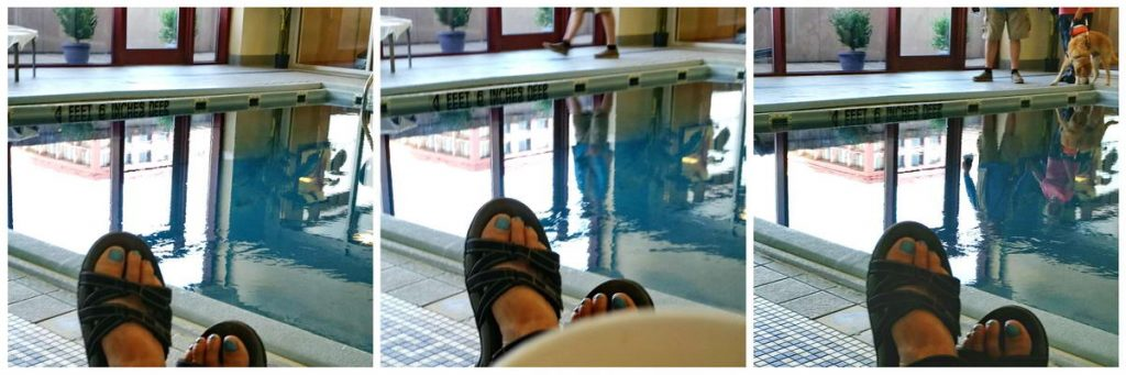 Stacey toesies and swimming pool