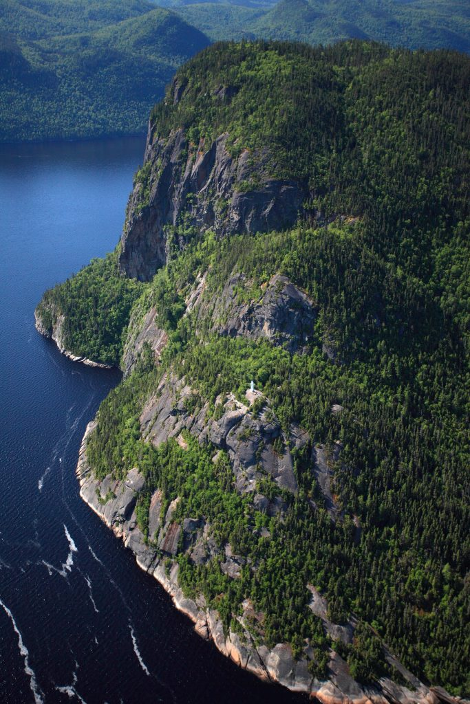 View of Parc national Fjord-du-Saguenay and Rivière-Éternité from helicopter