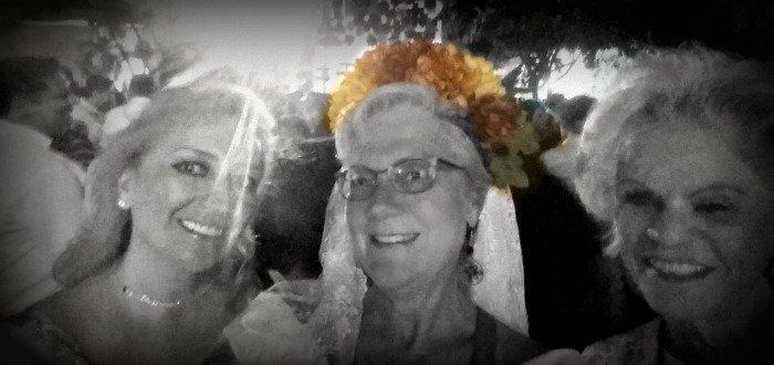 Stacey Wittig with headband of flowers at Dia de Los Muertos callejoneada
