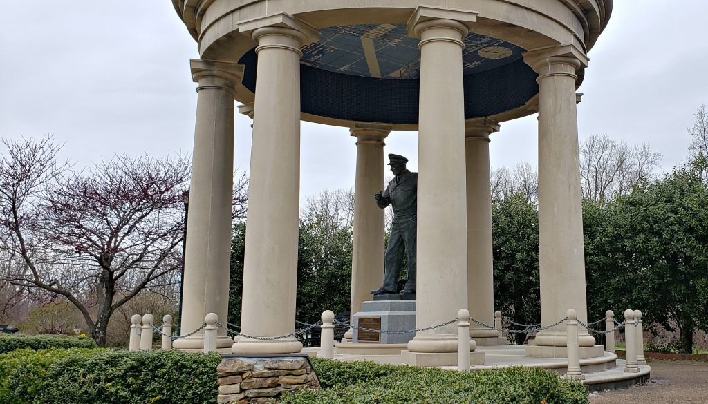 Garden folly with statue of General Dwight D Eisenhower