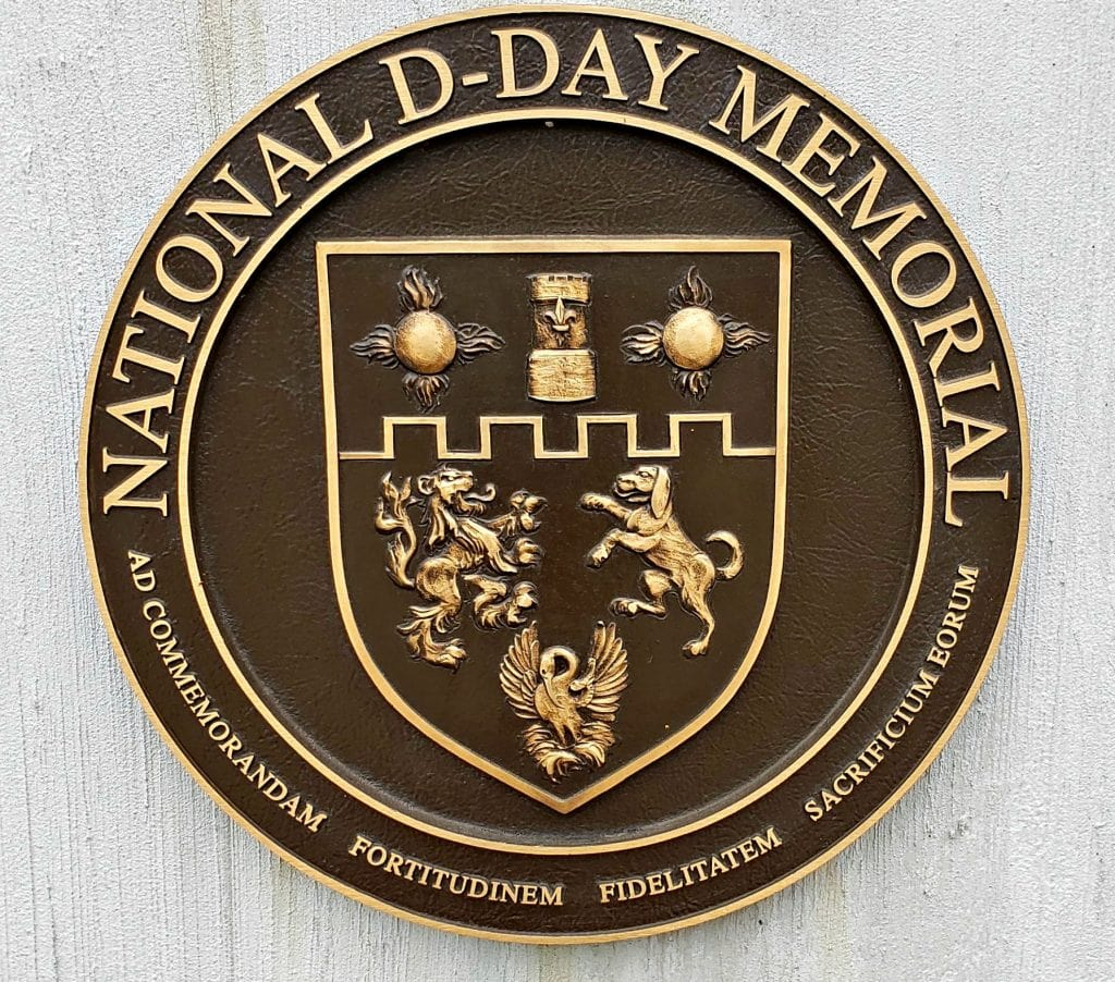 bronze plaque with National D-Day memorial engraved