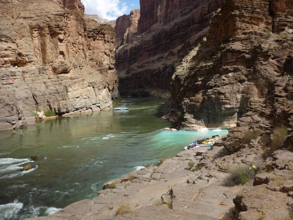 Havasu Creek dumps into the Colorado River in the Grand Canyon
