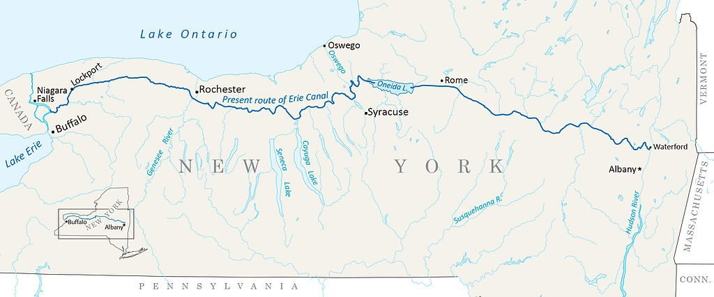 Map of Erie Canal and western New York State from Albany to Buffalo