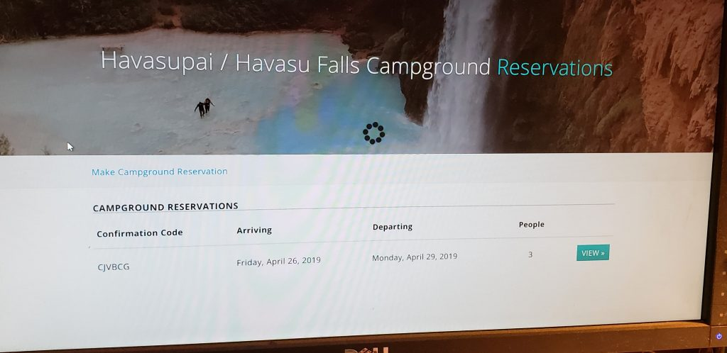 Photo of computer screen with Havasupai Reservations shown