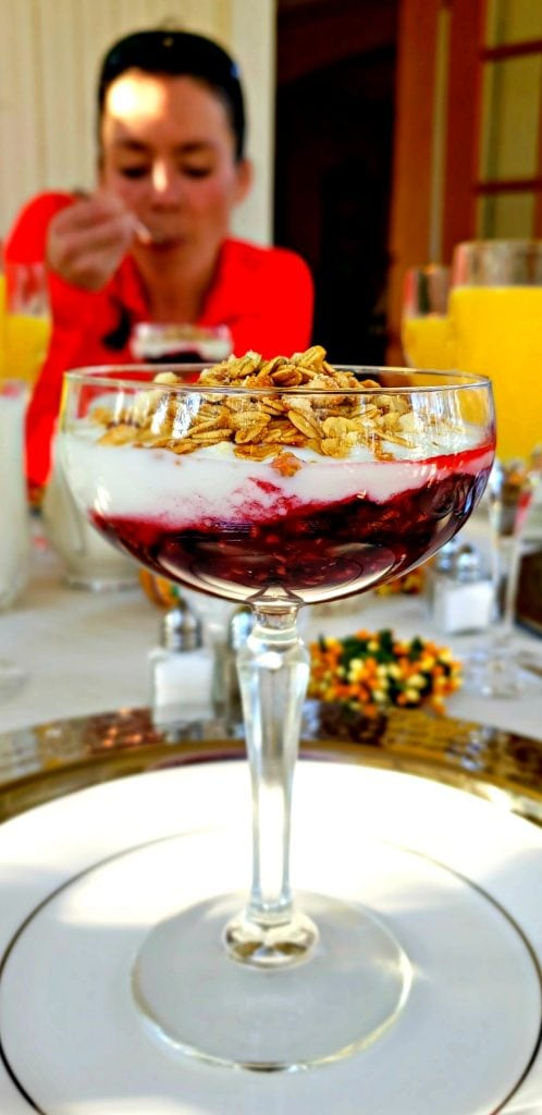 Fruit parfait is first course of breakfast at Cumberland Falls Bed and Breakfast