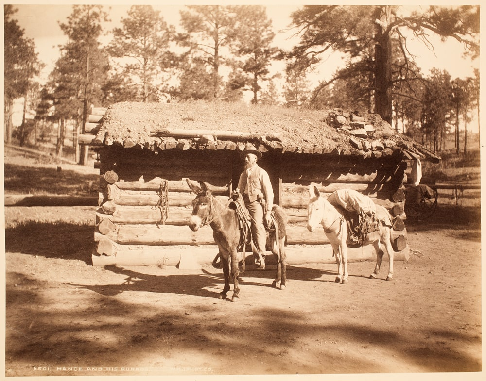 historic photo of John Hance in front of cabin with loggs laid with butts in same direction.