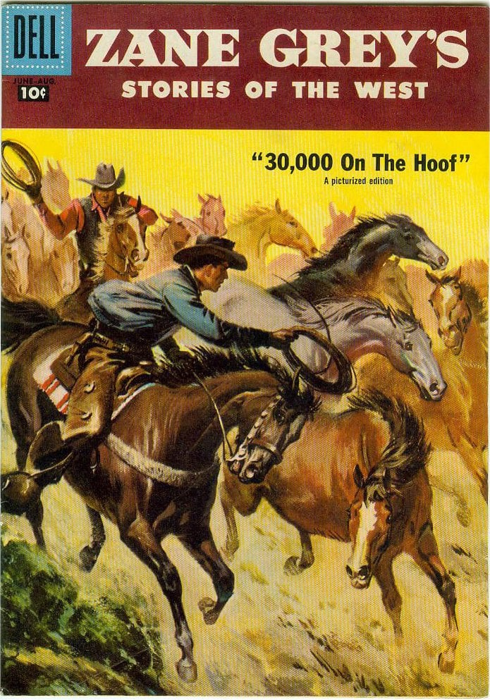 Book cover with illustration of two cowboys attempting to rope wild horses
