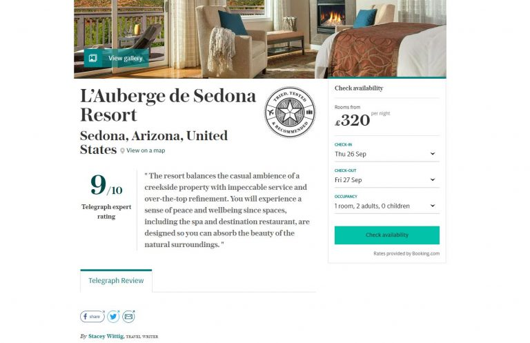 Screen shot of online London Telegraph hotel review by hotel reviewer Unstoppable Stacey Wittig