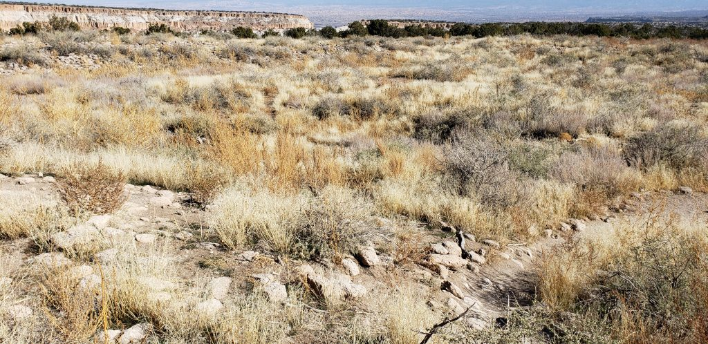 Tsankawi Village looks more like unexcavated archaeological site. A line of worked rock in the foreground shows evidence of former pueblo wall. Views stretch out over 30 miles from the top of this mesa.