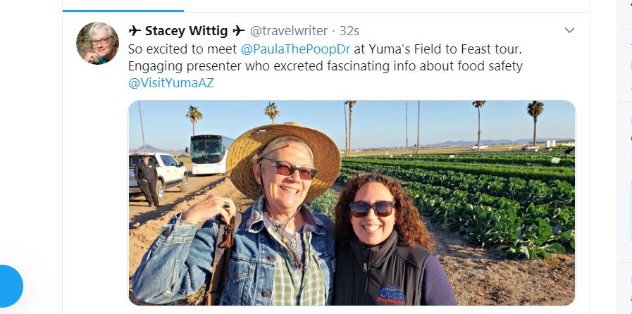 Twitter post with photo of Author Stacey Wittig with arm around young Dr. Paula Rivadeneira at Field to Feast Tours