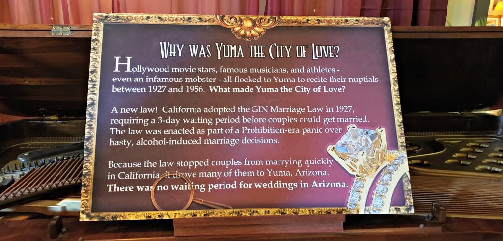"A sign posted in the museum asks 'Why was Yuma the City of love?"" is embellished with a picture of a diamond engagement ring."