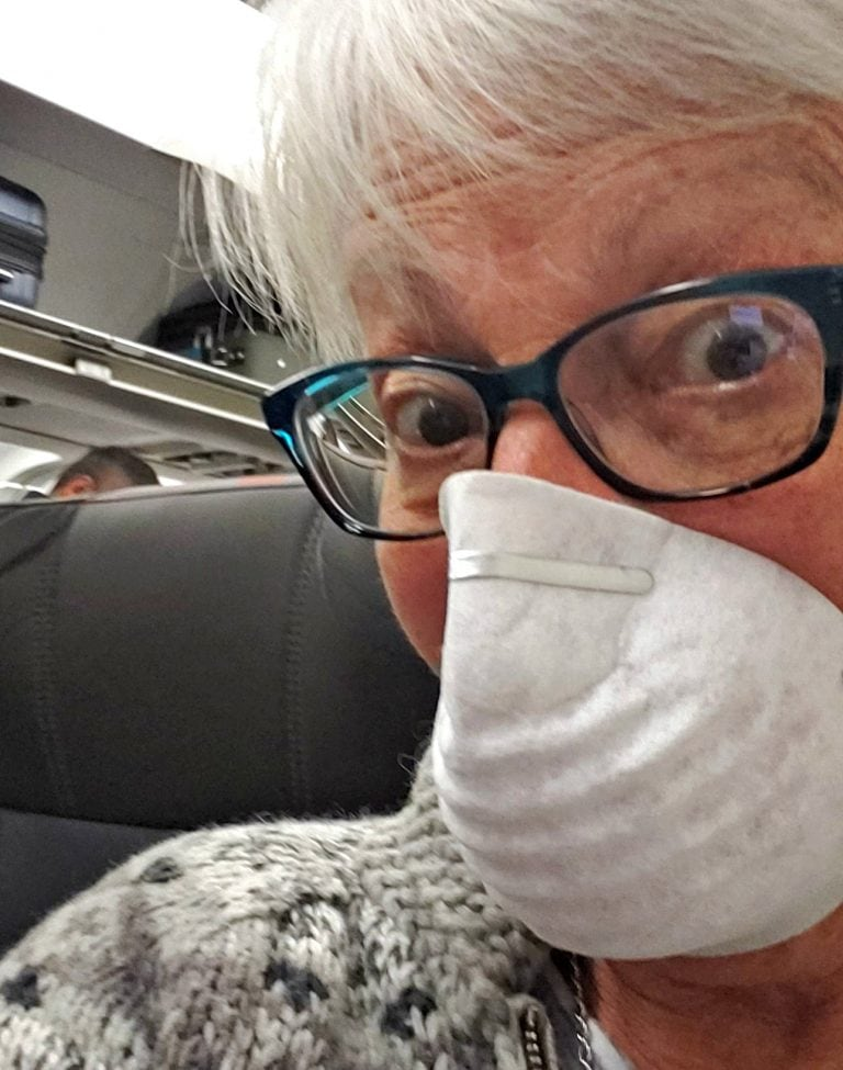 Close up of author with mask to protect her from Wuhan Coronavirus