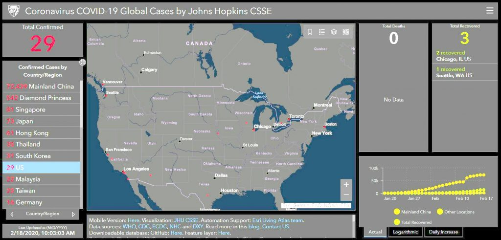Screen shot of Wuhan Coronavirus tracker with map of the world