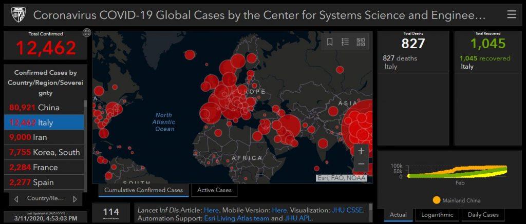 Screenshot of Johns Hopkins dashboard of Coronavirus outbreak