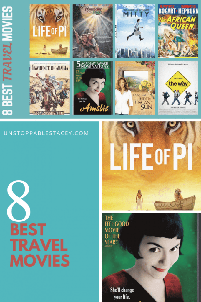 Collage of 8 Best Travel movies posters in Pinterest format. Save to Pinterest