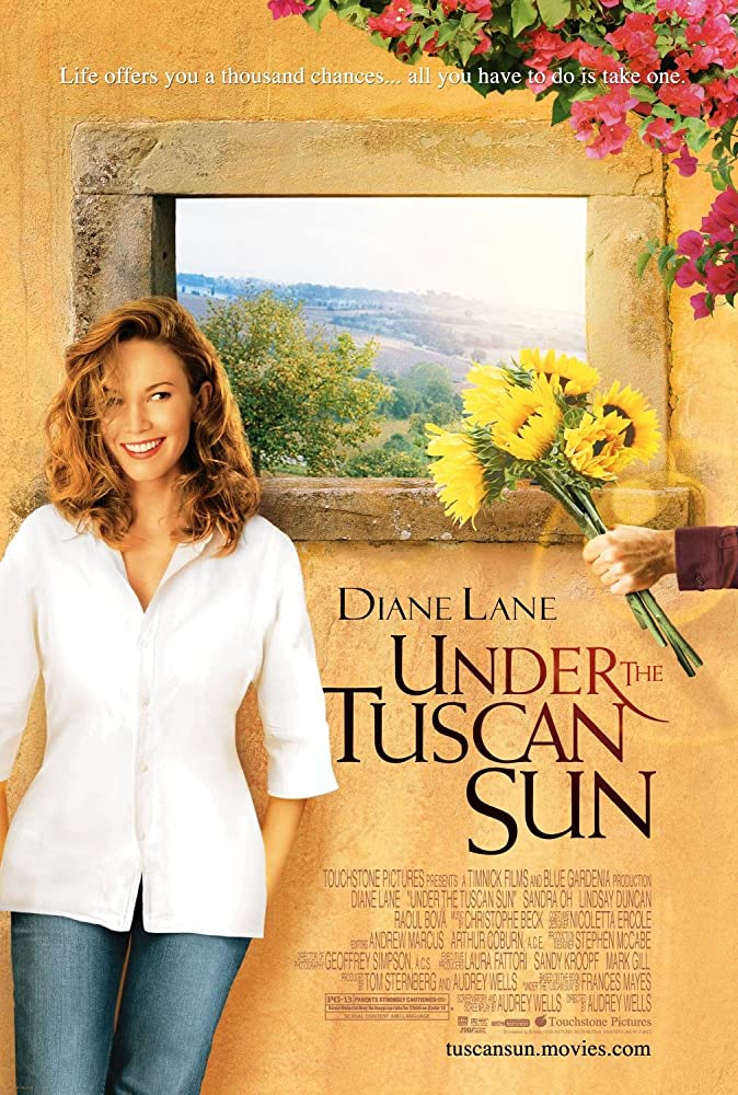 Movie poster with actress standing in front of window that looks out to the sunny Tuscan landscape. Get this travel movie on Netflix
