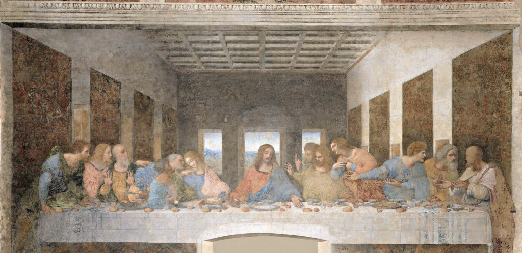 12 men sit with Jesus at a long table with three-D effect of room. Each man has emotion in his face and body in this The Last Supper painting