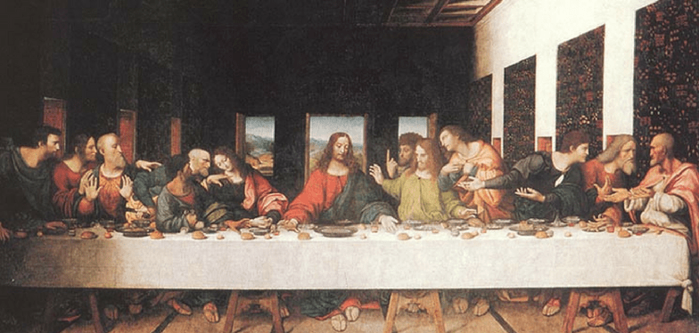 """Jesus sits at center of table, 6 disciples gesturing at each side. """"Lord, is it I?"""" Colors are brighter in thei copy of The Last Supper Da Vinci. This image helps in Encountering God through art"""