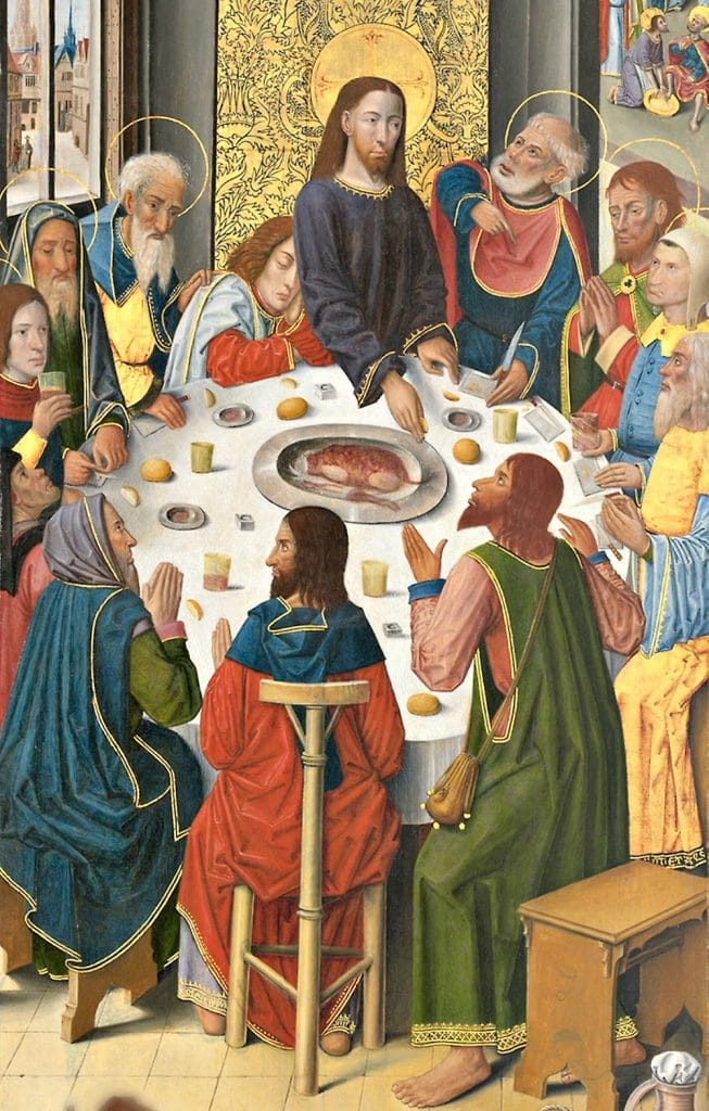 The viewpoint for The LAst Supper painting is from above. The table is oval rather than the previous rectangular tables. Jesus has a halo. A lamb is on the platter.