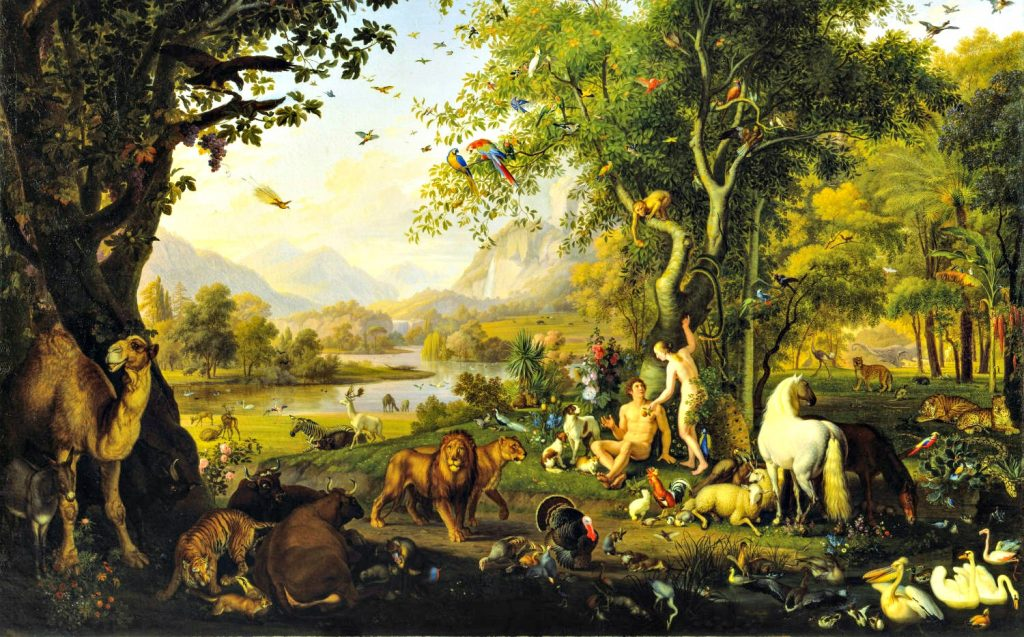 Romantic painting of two people in lush forest filled with every kind of animal. Ducks are in the river, birds in the sky. A waterfall in the distance nourishes the green landscape.