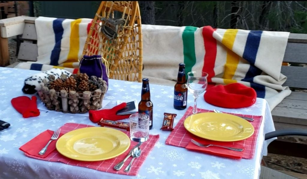 Poutdoor table set with props from Canada.