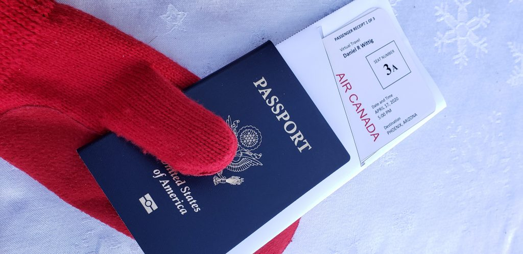 Replica boarding passes stick out of US passport looking very real indeed. One way to Create Virtual Vacations You Can Take From Your Home