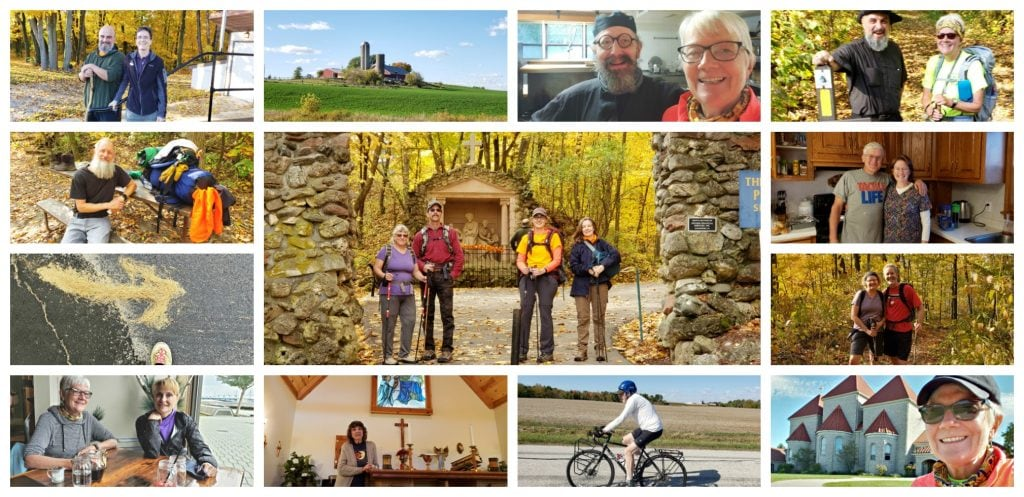 A collage of 13 photos of people with smiling faces who UNSTOPPABLE Stacey met during her Wisconsin Way pilgrimage