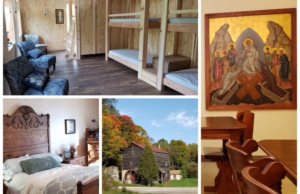 Photo montage showing bunk beds, iconic picture in monastery dining room, historic mill with fall colors and Victorian bedroom - all depicting accommodation on the Wisconsin Way pilgrimage