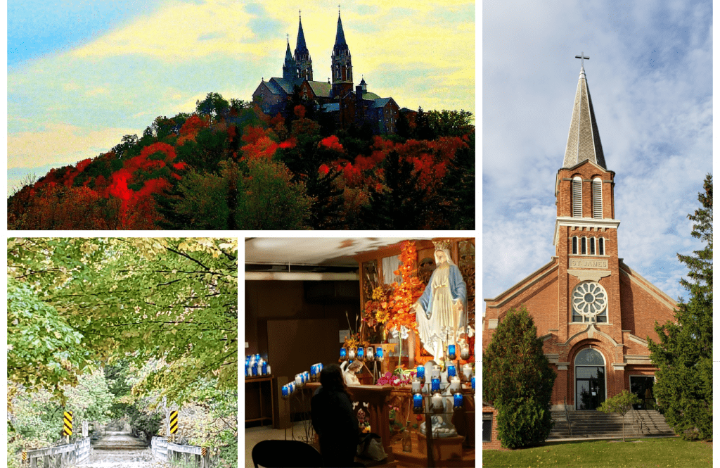 Collage of 4 pictures showing Catholic shrines in Wisconsin: Holy Hill on a high hill with twin spires, St James church with cross on top of spire, the crypt at our Lady of Good Help with blue candles and a forest road bursting in fall colors on the Wisconsin Camino