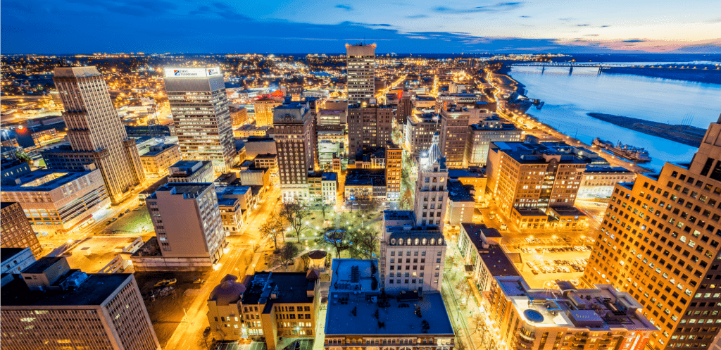 aerial view of Memphis downtown at twilight - bridge over Mississippi River in background