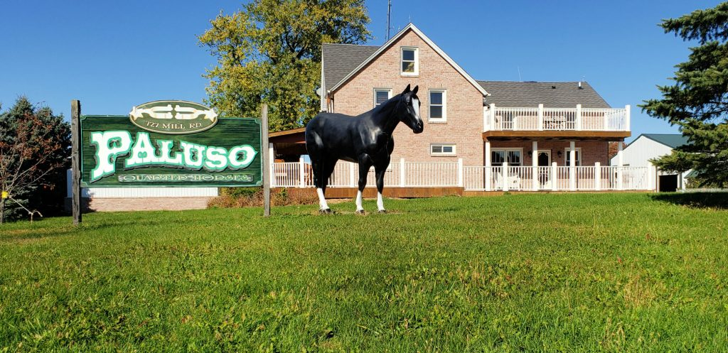 sign reading Paluso Guest Ranch and life-size plasti quarter horse on green lawn in front of historic farm house
