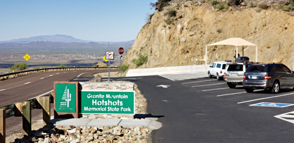 Granite Mountain Hotshots Memorial State Park sign and small parking lot
