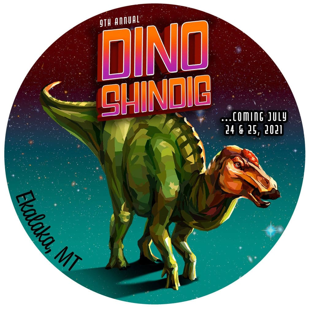 """round logo with colorful dinosaur and the words, """"9th annual Dino Shindig coming July 24 & 25, 2021"""" Montana family-friendly trip event"""