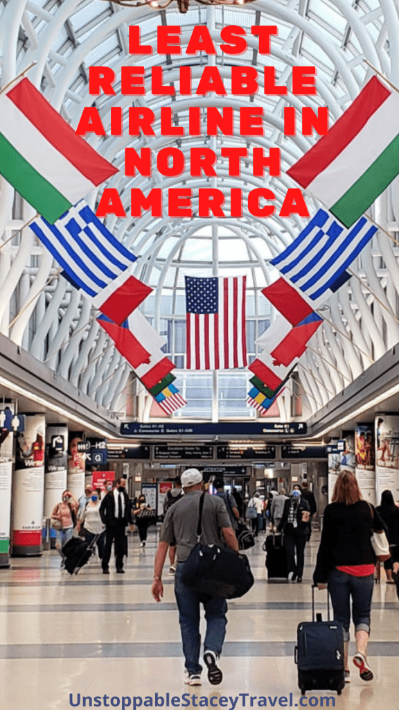 """Pinterest graphic of airline passengers walk in concourse with text over it reading """"Most Unreliable Airline in North America"""""""